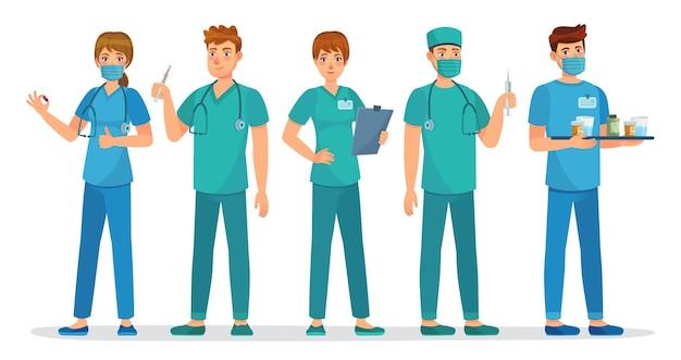 Equipe de estagiários médicos