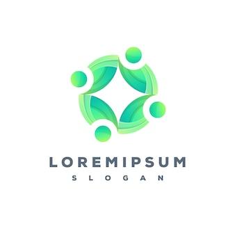 Equipe de folhas e pessoas design de logotipo colorido