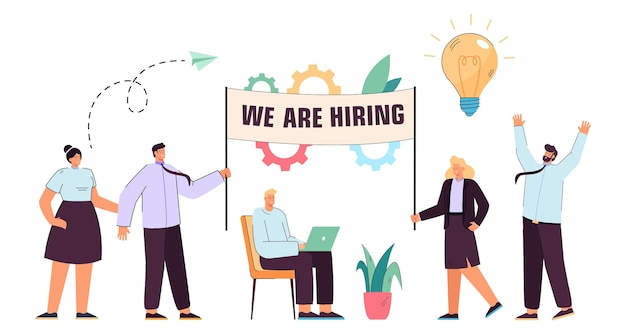 Equipe de funcionários de escritório contratando novos funcionários para a empresa