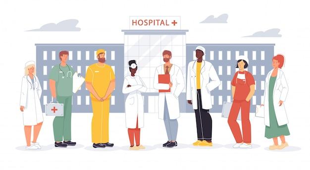 Equipe de funcionários do hospital profissional enfermeira médico