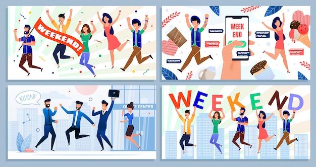 Equipe de funcionários satisfeita com o conjunto de desenhos animados de fim de semana