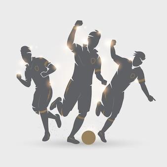 Equipe de jogador de futebol comemorar