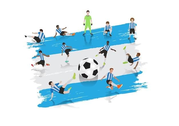 Equipe de jogador de futebol de vetor com fundo de bandeira da argentina