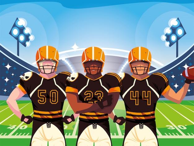 Equipe de jogadores de futebol de rugby, esportistas com uniforme