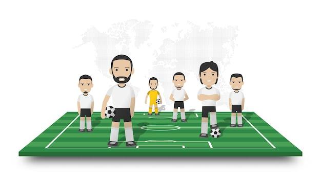 Equipe de jogadores de futebol fica no campo de futebol de perspectiva. mapa-múndi pontilhado em fundo branco isolado. personagem de desenho animado do desportista. desenho vetorial 3d.