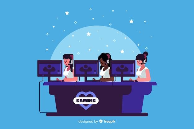 Equipe de jogos brincando com o computador