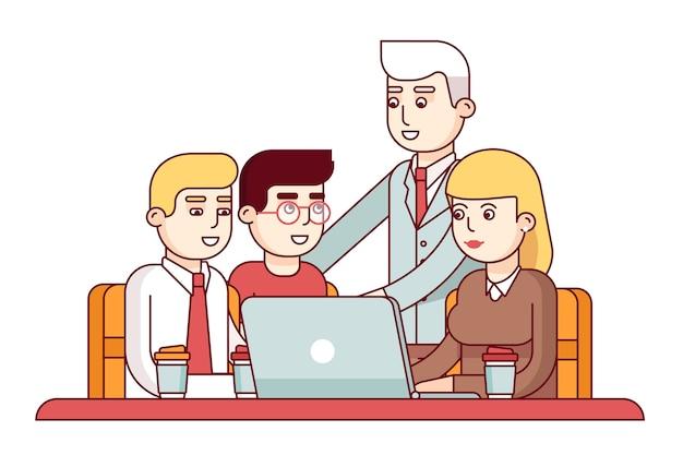 Equipe de jovens funcionários