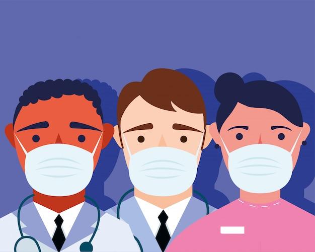 Equipe de jovens médicos do sexo masculino usando caracteres de máscaras médicas