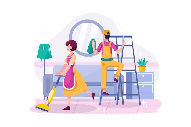 Equipe de limpeza com ferramentas profissionais arrumando a sala