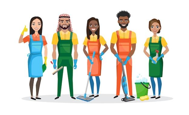 Equipe de limpeza profissional isolada no branco