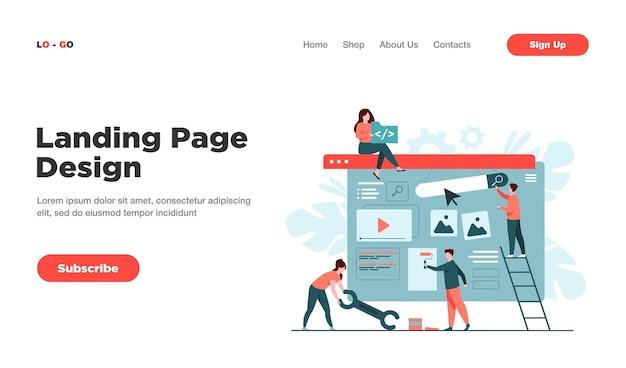 Equipe de marketing digital construindo página de destino ou página inicial