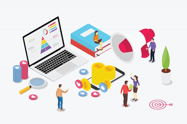 Equipe de marketing digital isométrica com pessoas de negócios e laptop