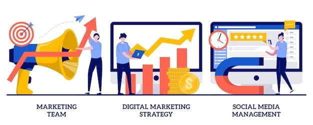 Equipe de marketing, estratégia de marketing digital, conceito de gerenciamento de mídia social. conjunto de smm. Vetor Premium