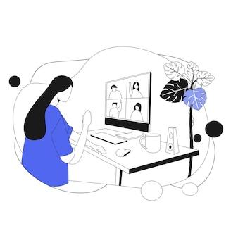Equipe de marketing online. ilustração em estilo simples
