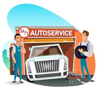 Equipe de mecânico de automóveis, trocar pneu na roda dos desenhos animados