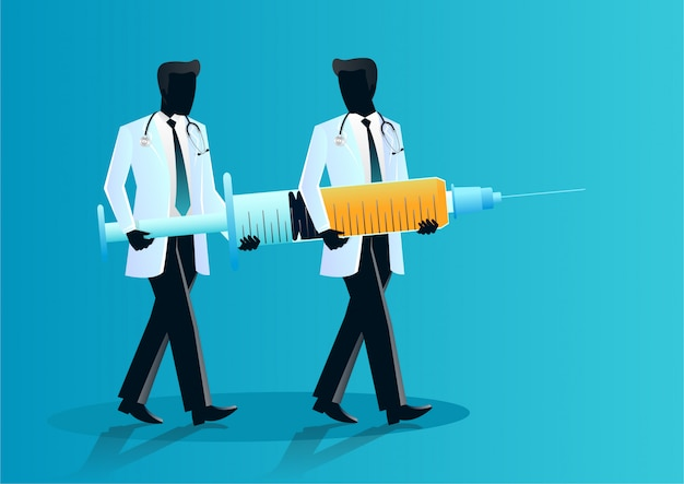 Equipe de médicos carregando agulha gigante