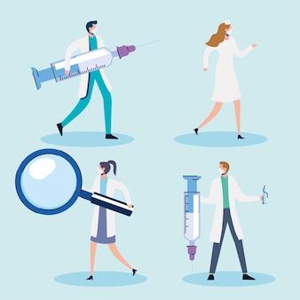 Equipe de médicos com ilustração de seringas e lupa