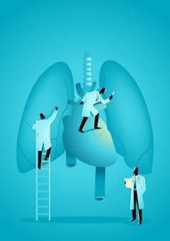 Equipe de médicos diagnosticar coração e pulmão humano