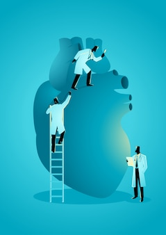 Equipe de médicos diagnosticar coração humano