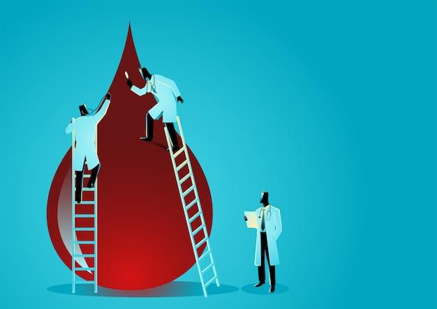 Equipe de médicos diagnosticar gota de sangue