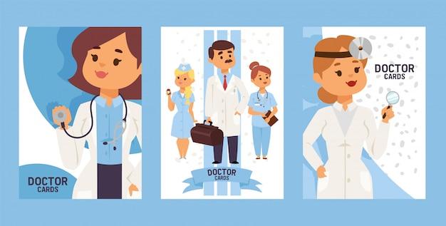Equipe de médicos e outros trabalhadores do hospital conjunto de cartões médico otorrinolaringologista com equipamentos. homem com caso. enfermeira segurando comprimidos.