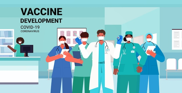 Equipe de médicos em máscaras médicas segurando seringa e frasco frasco coronavírus vacina desenvolvimento conceito de campanha de imunização médica clínica interior ilustração retrato horizontal
