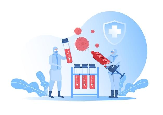 Equipe de médicos em traje de proteção trabalhando com ilustração de líquidos perigosos