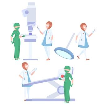 Equipe de médicos em um fundo branco