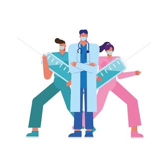 Equipe de médicos profissionais usando máscaras médicas com ilustração de injeções
