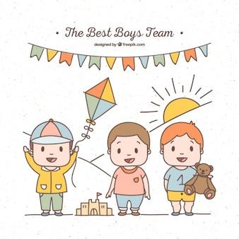 Equipe de meninos colorido com brinquedos diferentes