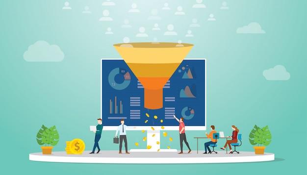 Equipe de monetização de seguidores ou usuários conceito de estratégia de marketing