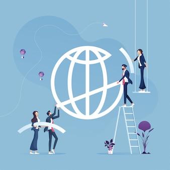 Equipe de negócios ajuda a construir o sinal global Vetor Premium
