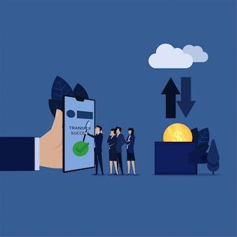 Equipe de negócios analisar e discutir sobre transações on-line através da nuvem e carteira.