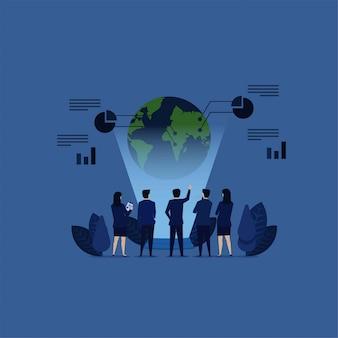 Equipe de negócios analisar globo com olhar de holograma e gráfico gráfico ao redor.