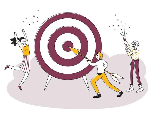 Equipe de negócios, atingindo o objetivo