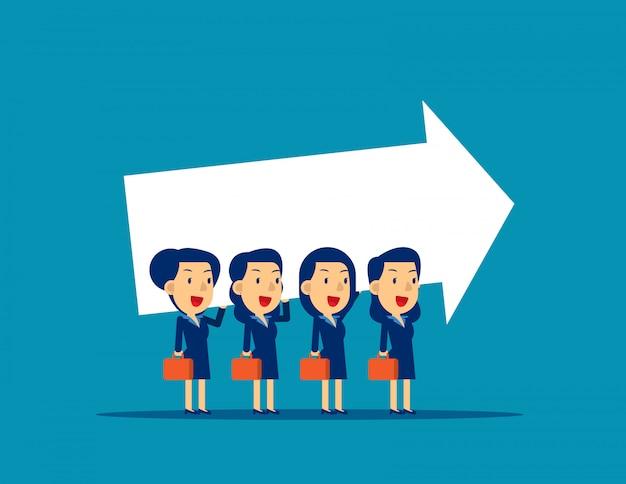 Equipe de negócios, carregando sinal de seta, trabalho em equipe, cooperação.