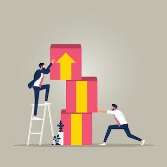 Equipe de negócios colocando blocos com conceito de crescimento de negócios de símbolo de seta