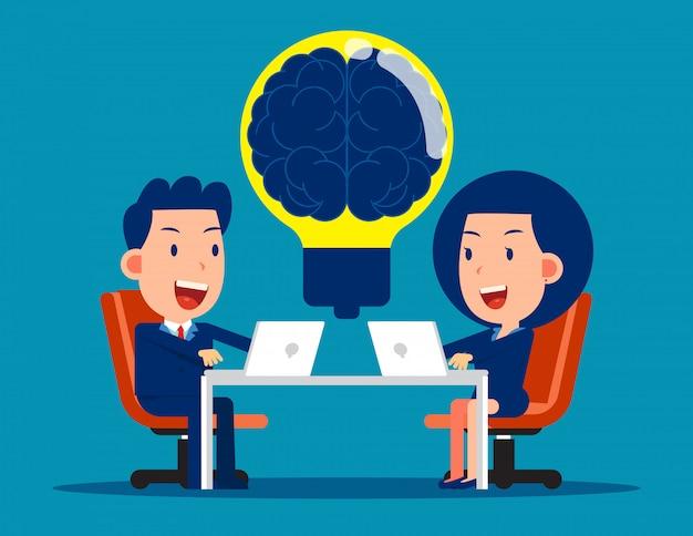 Equipe de negócios com brainstorming. conceito de reunião de negócios