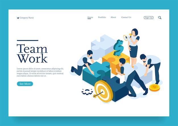 Equipe de negócios conectando quebra-cabeças conceito isométrico