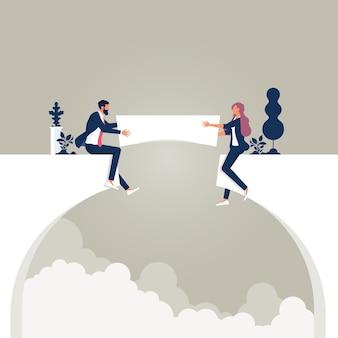 Equipe de negócios construindo uma ponte sobre o abismo do penhasco trabalho em equipe e assistência mútua nos negócios
