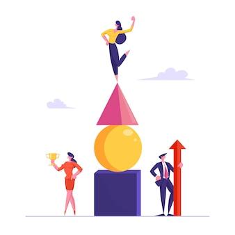 Equipe de negócios de sucesso celebra a pose de vitória com a enorme seta vermelha e o cálice de ouro