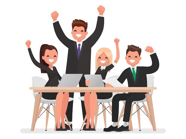 Equipe de negócios de sucesso liderada por um líder. em um estilo simples