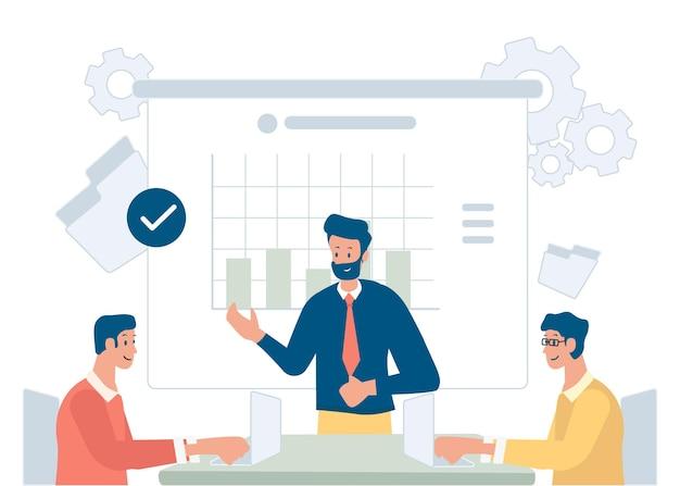 Equipe de negócios discutindo ideias para reuniões