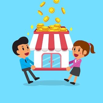 Equipe de negócios dos desenhos animados, ganhando dinheiro com seu negócio