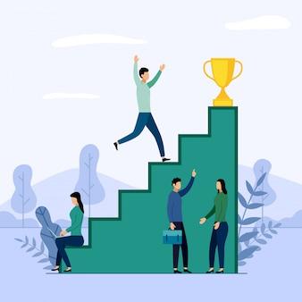Equipe de negócios e concorrência, realização, sucesso, desafio, ilustração de negócios