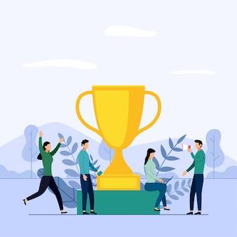 Equipe de negócios e concorrência, realização, sucesso, desafio, ilustração em vetor conceito negócio