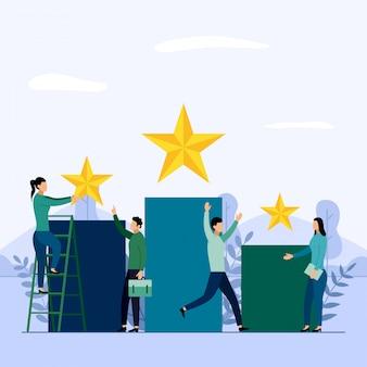 Equipe de negócios e concorrência, realização, sucesso, desafio, ilustração em vetor conceito negócios