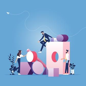 Equipe de negócios e resolução de problemas. ilustração do conceito de negócio