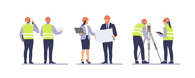 Equipe de negócios em capacetes de proteção discutindo projeto de construção. ilustração vetorial