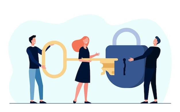 Equipe de negócios encontrando solução em conjunto. grupo com fechadura de desbloqueio de chave
